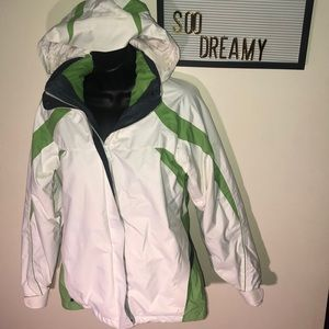 COLUMBIA White & Green Striped Waterproof Jacket